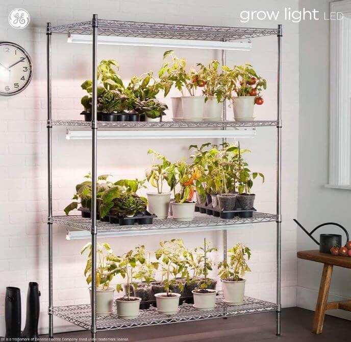vertical indoor garden with GE grow lights