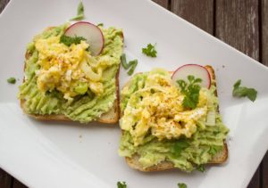 avocado toast bread in white plate