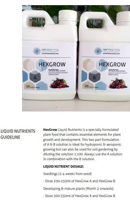 screenshot of manual aerospring liquid nutrient guide