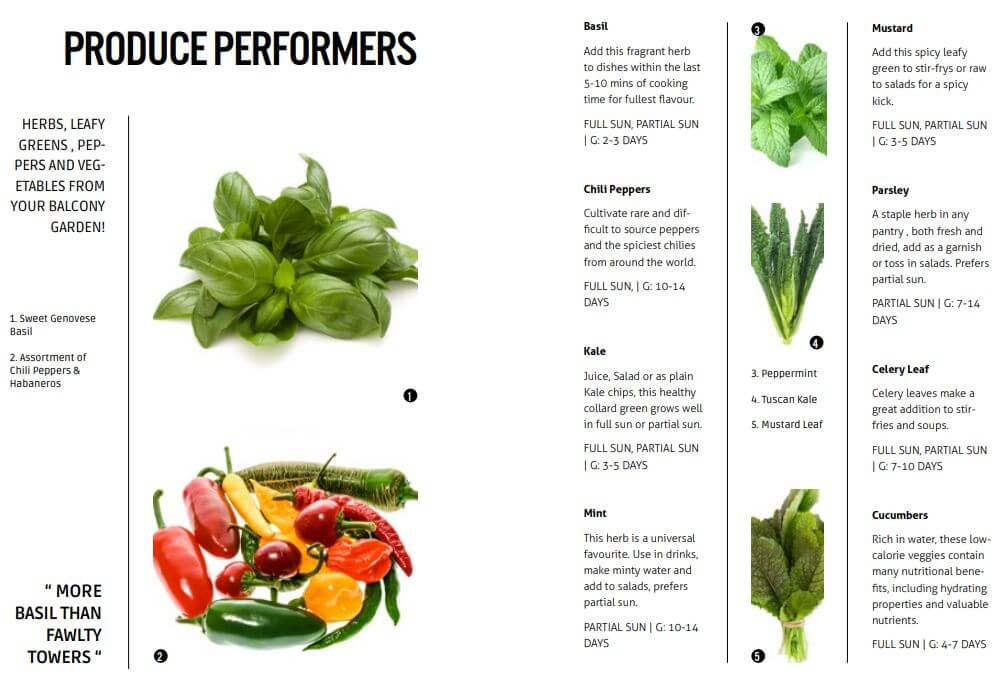 screenshot of aerospring manual vegetables you can plant