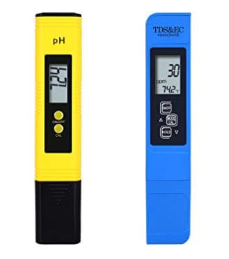 yellow and blue pH test meter